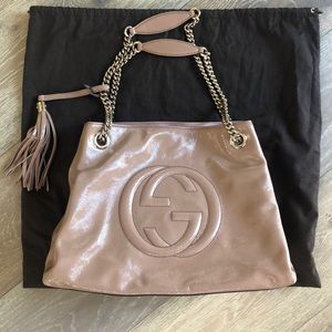 Nude Gucci bag with chain straps